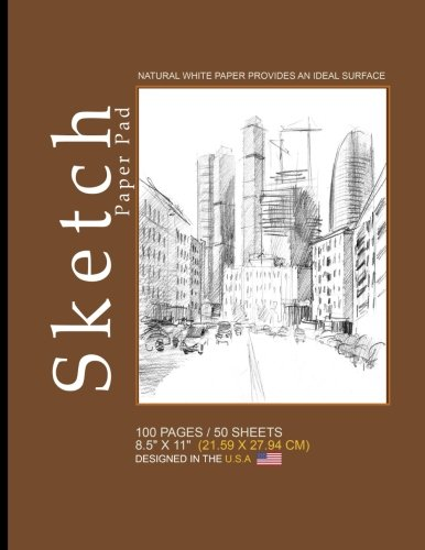 """Sketch Paper Pad: Blank Sketch Pad Notepad, 8.5"""" x 11"""" (21.59 x 27.94 cm), 100 pages, 50 sheets, Soft Durable Matte Cover(Brown) [Sketch Paper Pad - Sketch Book] (Tapa Blanda)"""