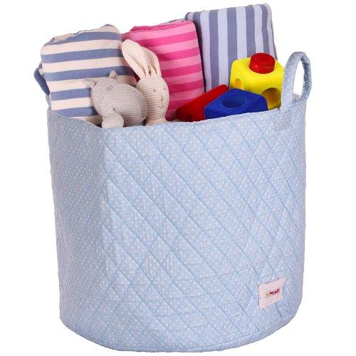 Miene UK LTD Storage Basket with Dots (Blue/ White, Large)