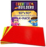 Creative Builders, Baseplates, Lego Compatible, Set of 4 Base Plates, Large Size 10