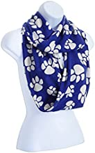 Kentucky Wildcats Team Colors Royal Blue Infinity Scarf with White Paw Prints Model by YI