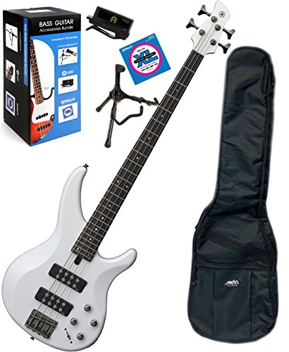 Yamaha TRBX304 WH TRBX-304 White 4 String Bass Guitar w/ Gig Bag and Bass Accessory Bundle