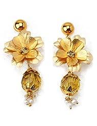 Aarya 24kt Gold Foil Flower Pearl Earring Ganthan For Women