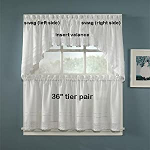 36 Long Crochet White Tier Curtain Pair By Chf Industries Home Kitchen