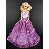 An Amazing Purple Ball Gown With Dark Purple Lace On The Skirt And Rhinestone Trim Made To Fit The Barbie Doll