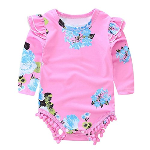 AMA(TM) Newborn Baby Girl Long Sleeve Floral Pom-pom Romper Jumpsuit Clothes (12 month, Pink)