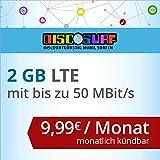 discoSURF Internet-Flat 2 GB LTE [SIM, Micro-SIM und Nano-SIM] monatlich kündbar (2 GB LTE mit max. 50 MBit/s, 9,99 Euro/Monat ) O2-Netz