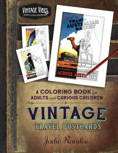 vintage travel postcards coloring book vintage vibes volume 1 - Coloring Packets