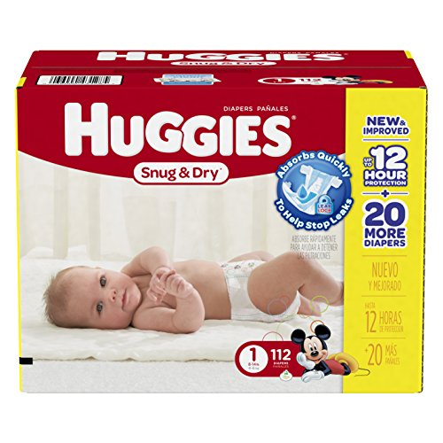 Huggies Snug and Dry Diapers, Size 1, 112 Count