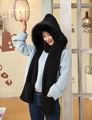 Automne-et-hiver-Femmes-Lovely-double-foulard-foulard-chapeau-gants-Trois-pices