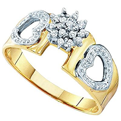0.10 Carat (ctw) 14K Yellow Gold Round White Diamond Ladies Cluster Heart Bridal Engagement Ring 1/10 CT