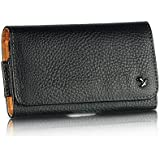 VMG Black Nappa Horizontal Leather Holster Case w/ Belt Clip for HTC EVO 4G LTE Sprint Cell Phone [by VANMOBILEGEAR]