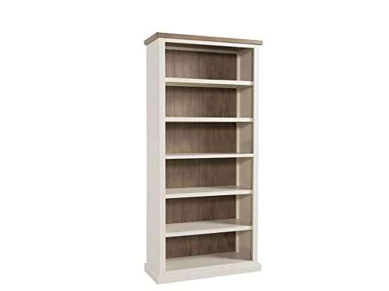 Libreria alta Cycladic dipinto a mano in pino massello – Stone Painted Pine grande libreria – Finitura: tops – cenere colore e base in pietra Painted – Home Office – salotto