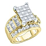 14K Yellow/White Gold 1 ct. Multi Diamond Bridal Engagement Ring