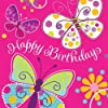 Creative Converting Butterfly Sparkle Happy Birthday Lunch Napkins, 16 Count