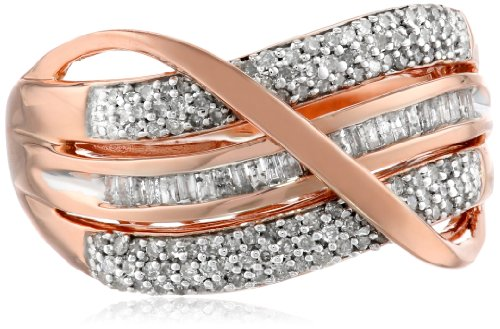 14k Rose Gold Plated Sterling Silver Diamond Bridge Ring (1/2 cttw, IJ Color, I2-I3 Clarity), Size 7
