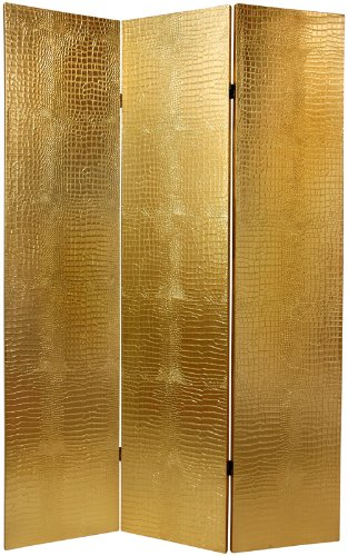 Elegant Low Cost High Quality Dividers - 6ft. Gold Faux Crocodile Skin Folding Privacy Floor Screen Partition