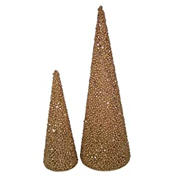 "Product Image Glitter Tabletop Tree Set of 2 - Gold (5.25x16"" and 3.5x10"")"