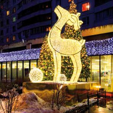 14.8' Giant Commercial Grade LED Lighted Waterloo Reindeer Christmas Decoration Display