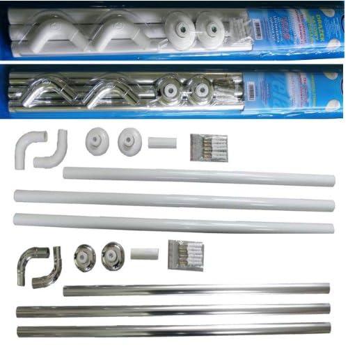 Shower Curtain Rail Rod, 4 way use,L Shape ,U shape in white (White) (White)