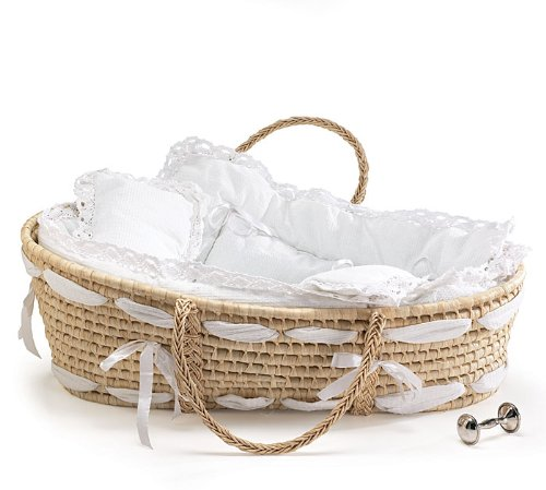 Burton and Burton Natural Baby Moses Basket with White Lace Bedding - 1