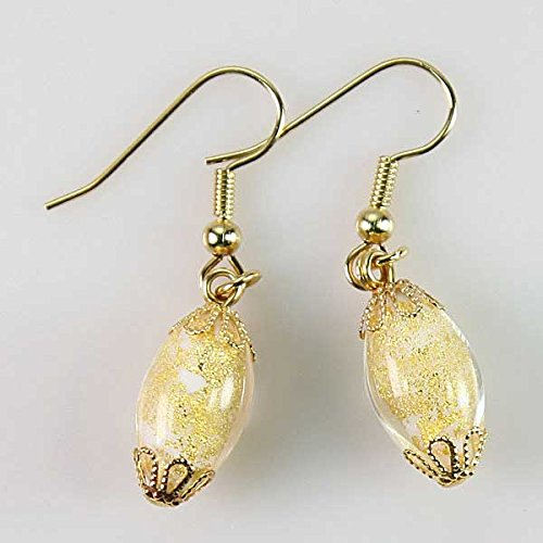 Ca D'Oro Olives Murano Glass Earrings - Ivory Gold