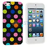 Black Colorful Polka Dot Gloss Flex Gel Case For the NEW Apple iPhone 5 (AT&T, Verizon, Sprint)