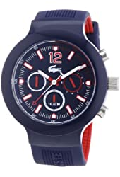 Lacoste Borneo Chronograph Blue Dial Blue Silicone Rubber Mens Watch 2010703