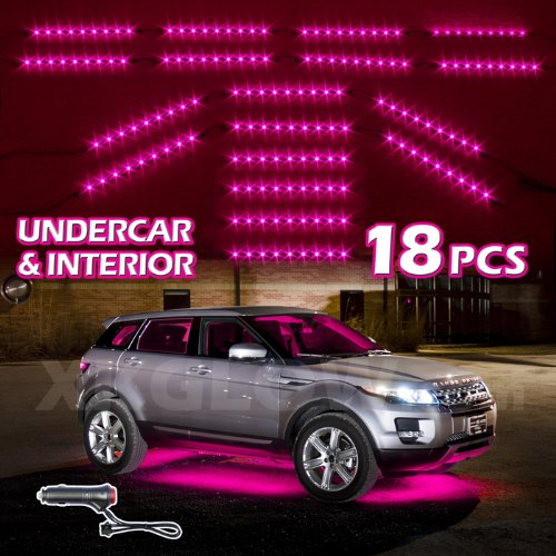 Pink Premium 18Pcs Underglow + Car Interior Three Mode Led Neon Accent Light Kit Waterproof Ultra Bright + Plug & Play Ultimate Coverage