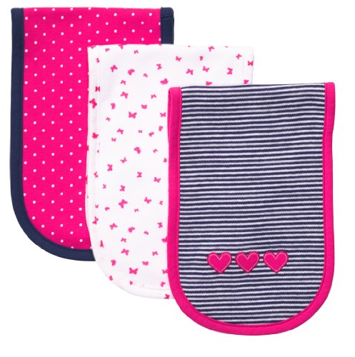 Carter's 3 Pack Baby Burp Cloths. Girl (heart, dots, Butterfly & Stripe) - 1