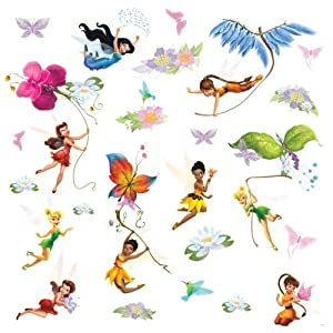 Roommates rmk1493scs disney fairies wall decals with glitter wings wall decor stickers
