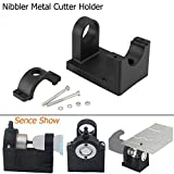 OSOF Positioning Bracket Double Head Sheet Metal Nibbler Hole Saw Cutter Drill Tool Holder Table top Workbench ABS Mount