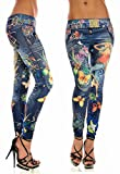 Surenow New Stylish Denim Look Ripped Faux Jean Blue Leggings Tights Pants