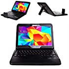 Elecsonix Samsung Galaxy Tab 4 10.1 Inch Bluetooth Keyboard Folio Case Leather Cover - Auto Sleep/Wake Slim Fit Premium Vegan Leather Cover for Samsung Tab 4 10.1 Inch Tablet - Ultra Slim Smart Shell Light Weight Stand with Magnetically Detachable Wireless Bluetooth Keyboard, Black