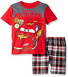 Disney Little Boys 2 Piece Cars Lightening McQueen Screened Patches To Plaid Short Set, Red, 4T