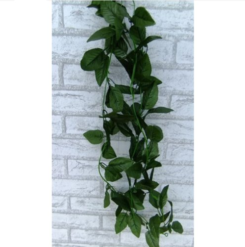 Artificial Ivy Leaf Plants Vine Fake Foliage Home Wall Party Decor Wedding Decal (Dark Green) front-1053885