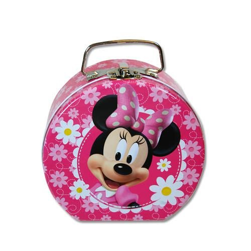 1 X Disney Minnie Mouse Tin Purse in Pink w/Daisies