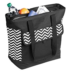 oagear double compartment cooler tote chevron pattern. Black Bedroom Furniture Sets. Home Design Ideas
