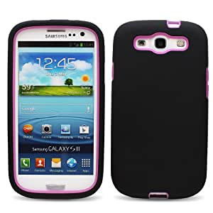Fosmon DualShell PC + Silicone Hybrid Case for Samsung Galaxy S3 / SIII - Black & Purple