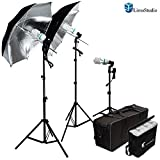 LimoStudio 600W Photography Triple Photo Umbrella Light Lighting Kit, Video, and Portrait Studio Umbrella Continuous Lighting Kit With Three 45 Watt, 6500K Day Light Balanced CFL Photo Bulbs, Black/Silver Reflective Photo Umbrellas, Stands, and Carrying C