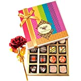 Valentine Chocholik's Belgium Chocolates - Sweet Sensation Of Dark And White Truffles And Chocolate Box With 24k...