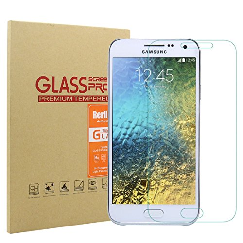 Samsung Galaxy E5 Screen Protector- Rerii Tempered Glass Screen Protector for Samsung Galaxy E5, High Definition, 9H Hardness, 0.3mm Thickness, Delicate Touch, Real Glass Screen Protector (Samsung E5 compare prices)