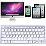 HDE Minii Aluminum Bluetooth 3.0 Wireless Multimedia Keyboard For Windows PC Mac IOS Phone Tablet IPad (Silver)