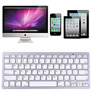 HDE Mini Sleek Aluminum Apple-Style Bluetooth 3.0 Wireless Multimedia Keyboard for Windows PC Mac iOS iPad2/3/4/Mini/Air Apple TV & Android Devices