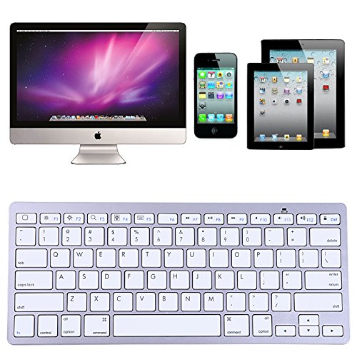 Hde Mini Sleek Aluminum Apple-Style Bluetooth 3.0 Wireless Multimedia Keyboard For Windows Pc Mac Ios Ipad2/3/4/Mini/Air Apple Tv & Android Devices