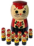 """Russian Matryoshka Cat with 10 Kittens Nesting Doll - Wooden Handpainted Christmas Gift - Nested Counting Set - 5"""" Tall"""