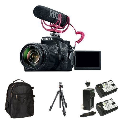 Canon EOS 70D Video Creator Kit with 18-135mm Lens, Rode VIDEOMIC GO and Sandisk 32GB SD Card Class 10 + Bag, Battery and Tripod