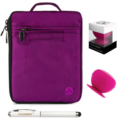 Lightweight Padded Nylon Sleeve For Hp Slate 8 Plus Android Tablet + Pink Bluetooth Suction Speaker + Stylus Pen
