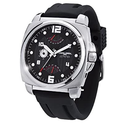 Jorg Gray 1040 Retrograde Calendar & Dual Time Watch - Stainless - Black Dial
