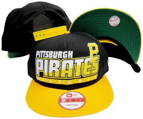 Pittsburgh Pirates Black/Yellow Two Tone Snapback Adjustable Plastic Snap Back Hat / Cap