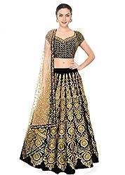 Fabron Black colour georgette & net lehenga choli with matching dupatta for woman.